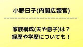 小野日子(内閣広報官)の家族構成(夫や息子)は?