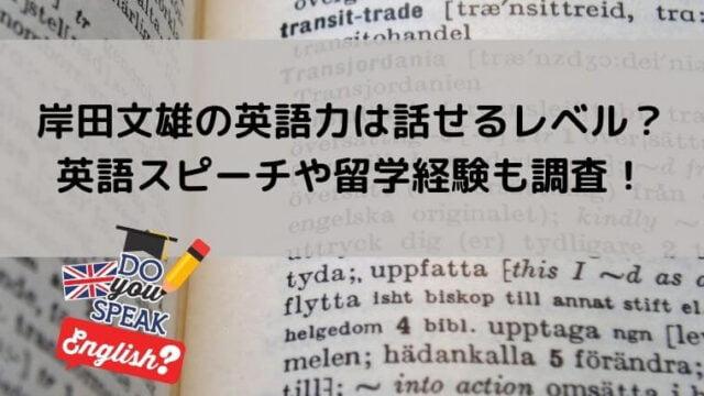 岸田文雄の英語力は話せるレベル?英語スピーチや留学経験も調査!